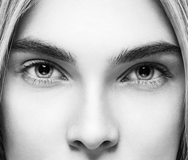 Eyes nose woman portrait black and white